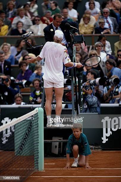 Jim Courier of the United States argues a point with the umpire during his defeat of Andre Agassi 36 64 26 61 64 in the final to win the Men's...