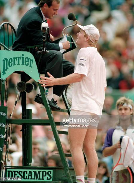 Jim Courier of the United States speaking to the umpire after defeating Andre Agassi of the United States to win the men's singles final during day...