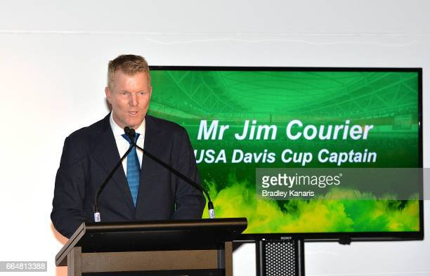 Jim Courier of the USA speaks at the official dinner at GOMA ahead of the Davis Cup World Group Quarterfinal match between Australia and the USA on...