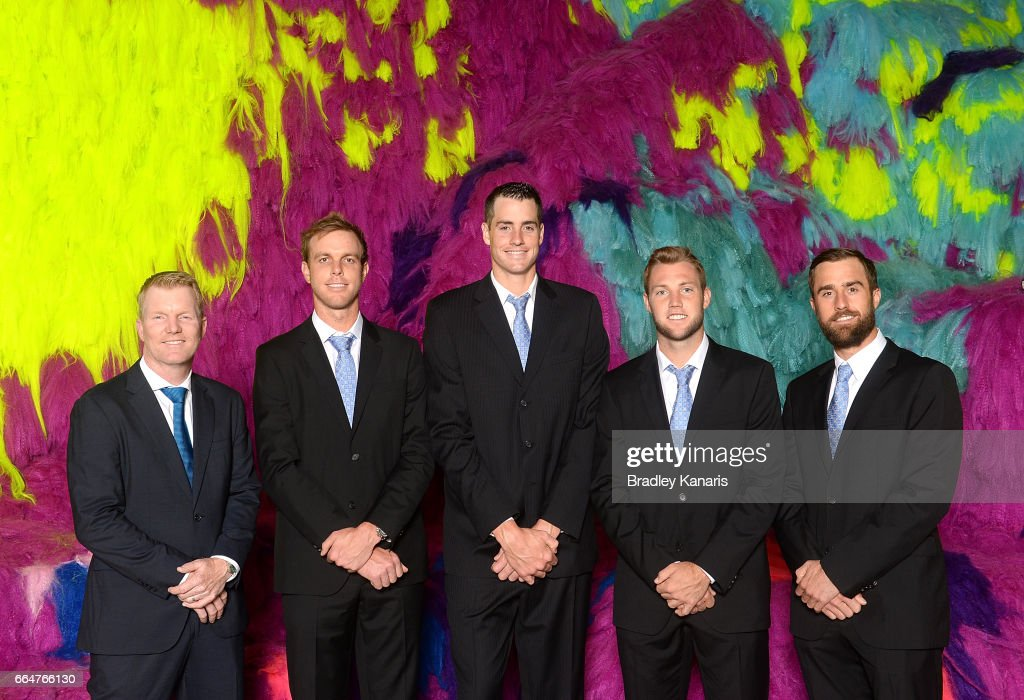 Jim Courier, Sam Querrey, John Isner, Jack Sock and Steve Johnson of the USA pose for a photo before the official dinner at GOMA ahead of the Davis Cup World Group Quarterfinal match between Australia and the USA on April 5, 2017 in Brisbane, Australia.
