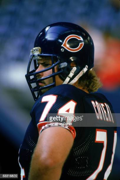 Jim Covert of the Chicago Bears looks on during the game against the New York Jets at Giants Stadium on December 14 1985 in East Rutherford New...