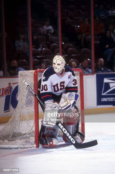 Jim Craig of USA defends the net during an alumni game with the Philadelphia Flyers alumni on April 15 1995 at the Spectrum in Philadelphia...