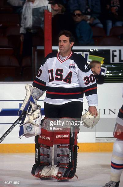 Jim Craig of USA skates on the ice before an alumni game with the Philadelphia Flyers alumni on April 15 1995 at the Spectrum in Philadelphia...