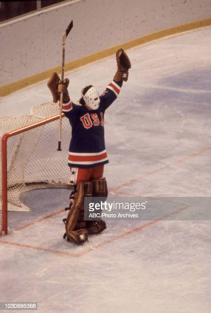 Jim Craig United States team vs Russian team competing in the Men's ice hockey tournament the 'Miracle on Ice' at the 1980 Winter Olympics / XIII...