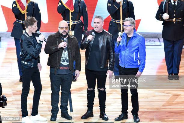 Jim Creeggan Tyler Stewart Ed Robertson and Kevin Hearn of Barenaked Ladies perform the Canadian national anthem at The 67th NBA AllStar Game Team...