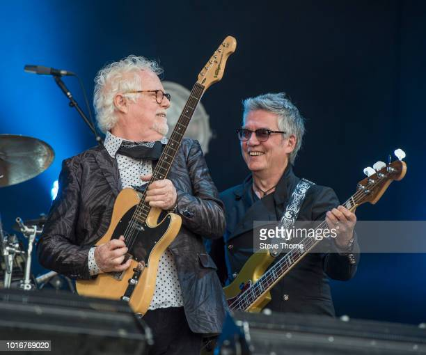 Jim Cregan and Pat Davey of Cregan Co perform at Fairport Convention's Cropredy Convention at Cropredy on August 10 2018 in Banbury England