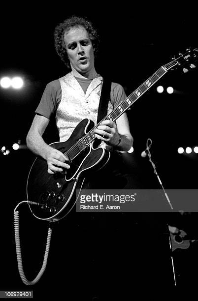 Jim Cregan from Rod Stewart's band performs live on stage at the Forum in Los Angeles in December 1981