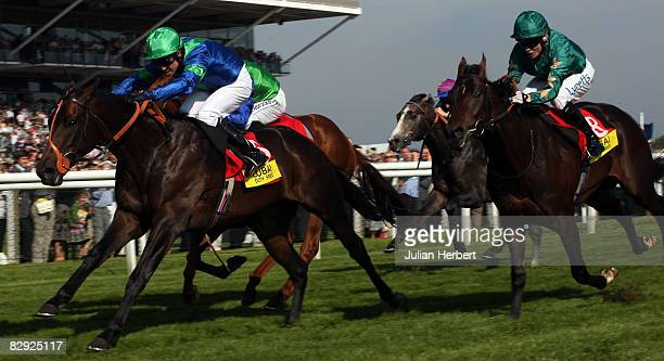 Jim Crowley and Lord Shanakill land The Dubai Duty Free Mill Reef Stakes Race run at Newbury Racecourse on September 20 in Newbury England