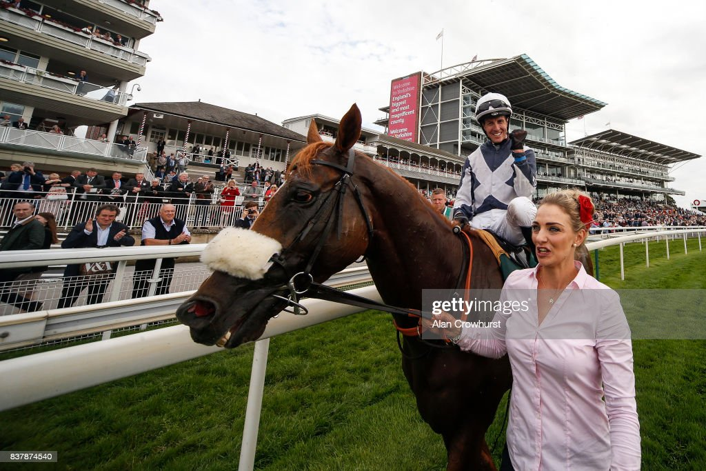 Jim Crowley celebrates after riding Ulysses to win The Juddmonte International Stakes at York racecourse on August 23, 2017 in York, England.