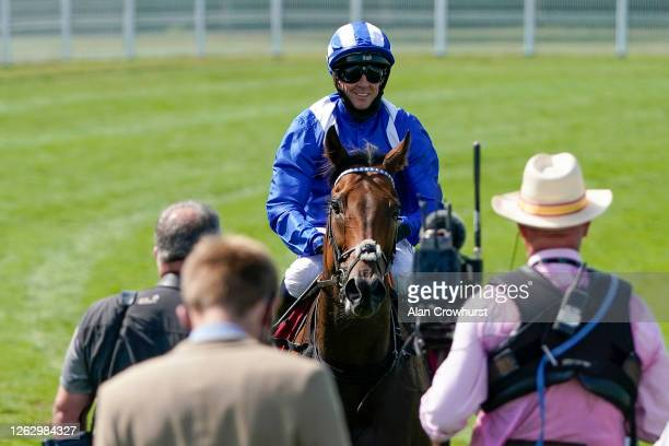 Jim Crowley returns after riding Battaash to win The King George Qatar Stakes for a fourth consecutive year at Goodwood Racecourse on July 31 2020 in...