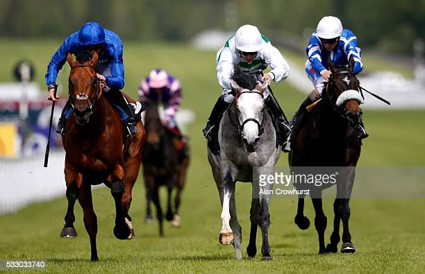 Jim Crowley riding Algometer win The EBF Stallions Cocked Hat Stakes from Prize Money at Goodwood racecourse on May 20 2016 in Chichester England