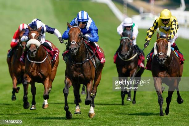 Jim Crowley riding Battaash win The King George Qatar Stakes from Glass Slippers and Tom Eaves at Goodwood Racecourse on July 31 2020 in Chichester...
