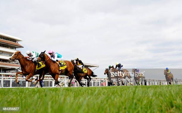 Jim Crowley riding Cubanita win The Dubai Duty Free Finest Suprise Stakes from Noble Mission at Newbury racecourse on April 12, 2014 in Newbury,...