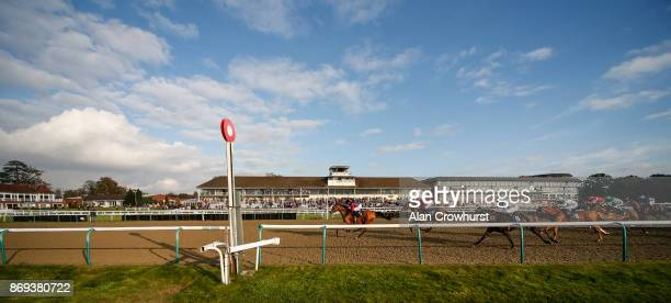 Jim Crowley riding Daphne win The 32Red EBF Stallions River Eden Filliesâ Stakes at Lingfield racecourse on November 2 2017 in Lingfield United...