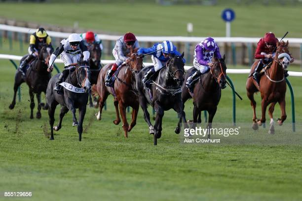 Jim Crowley riding Elarqam win The Tattersalls Stakes at Newmarket racecourse on September 28 2017 in Newmarket United Kingdom