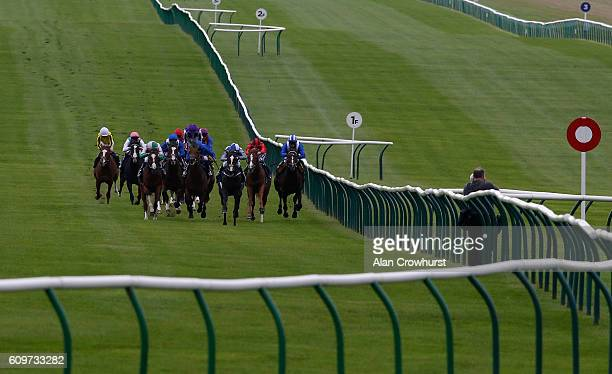 Jim Crowley riding Eminent win The John Banks Renault Cambridge EBF Stallions Maiden Stakes at Newmarket Racecourse on September 22 2016 in Newmarket...