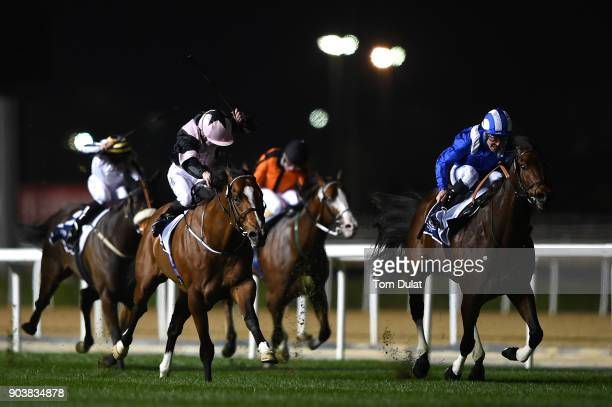 Jim Crowley riding Ertijaal on his way to winning the Longines Ladies La Grande Classique race during the Dubai World Cup Carnival Races at the...