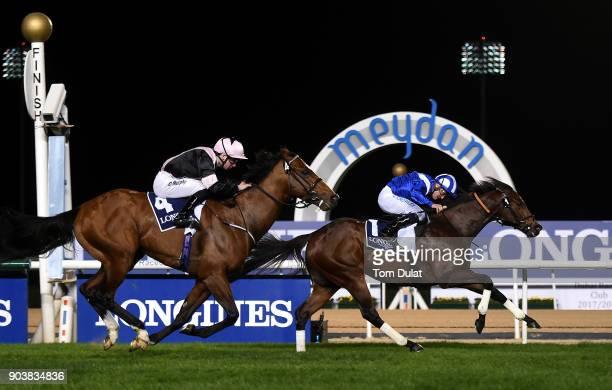 Jim Crowley riding Ertijaal wins the Longines Ladies La Grande Classique race during the Dubai World Cup Carnival Races at the Meydan Racecourse on...