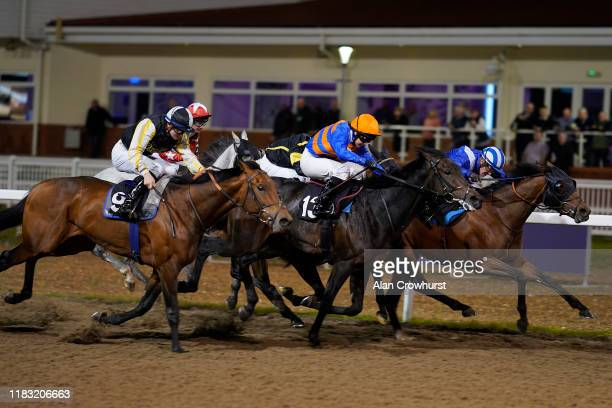 Jim Crowley riding Jabalaly win The Bet In Play At totesport.com Handicap at Chelmsford City Racecourse on October 24, 2019 in Chelmsford, England.