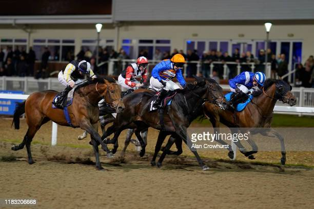 Jim Crowley riding Jabalaly wins The Bet In Play At totesport.com Handicap at Chelmsford City Racecourse on October 24, 2019 in Chelmsford, England.