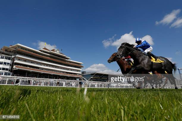 Jim Crowley riding Muntahaa win The Dubai Duty Free Finest Surprise Stakes at Newbury Racecourse on April 22 2017 in Newbury England