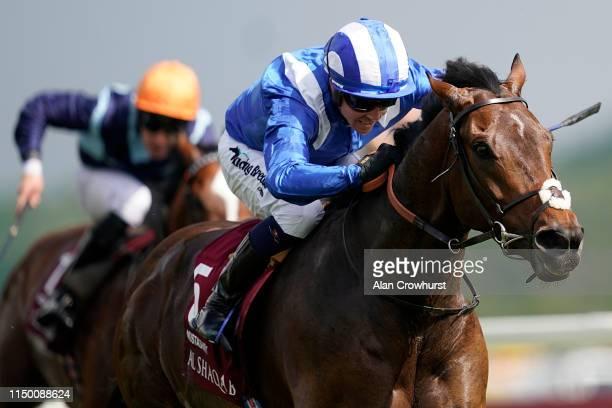 Jim Crowley riding Mustashry win The Al Shaqab Lockinge Stakes at Newbury Racecourse on May 18 2019 in Newbury England