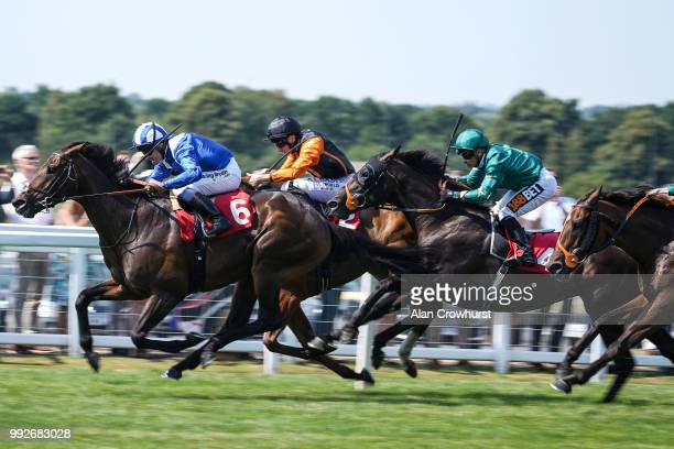 Jim Crowley riding Mustashry win The Davies Insurance Services Gala Stakes at Sandown Park on July 6 2018 in Esher United Kingdom