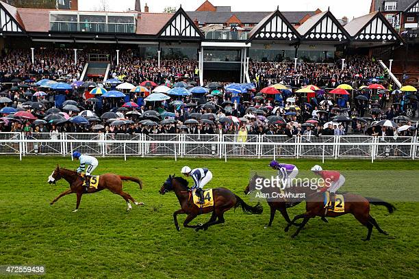Jim Crowley riding Not So Sleepy lead all the way to win The Betfair Dee Stakes at Chester racecourse on May 08 2015 in Chester England
