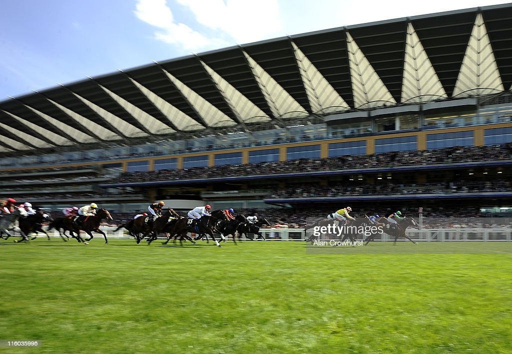 Jim Crowley riding Prohibit (R) to win The King's Stand Stakes during day one of Royal Ascot at Ascot racecourse on June 14, 2011 in Ascot, England