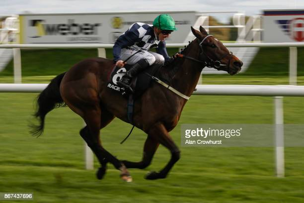 Jim Crowley riding Reshoun win The crownhotelbawtrycom Handicap Stakes at Doncaster racecourse on October 28 2017 in Doncaster United Kingdom