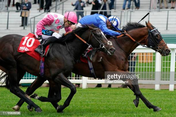 Jim Crowley riding Sawwaah win The Mar-Key Group Classified Stakes at Ascot Racecourse on October 04, 2019 in Ascot, England.