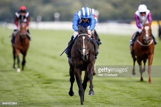 Jim Crowley riding Shabaaby win The Irish Stallion Frms EBF Conditions Stakes at Doncaster racecourse on September 13 2017 in Doncaster United Kingdom