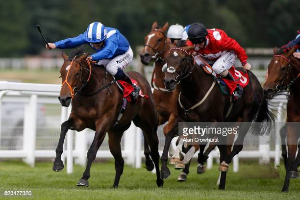 Jim Crowley riding Tajaanus win The Longines Irish Champions Weekend EBF Stallions Star Stakes at Sandown Park racecourse on July 27 2017 in Esher...