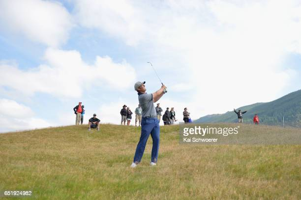 Jim Cusdin of New Zealand plays a shot during day three of the New Zealand Open at Millbrook Resort on March 11 2017 in Queenstown New Zealand