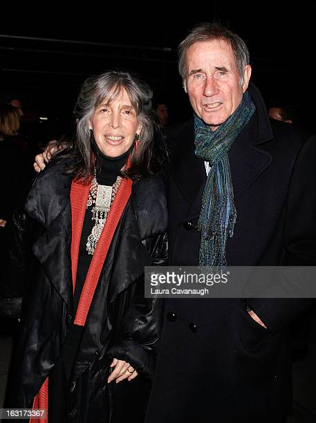 "Jim Dale and wife Julia Schafler attend ""Talley's Folly"" Opening Night at Laura Pels Theatre at the Harold & Miriam Steinberg Center for on March 5,..."