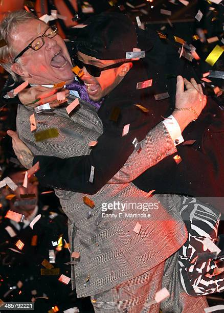 Jim Davidson celebrates with NDubz rapper Dappy after being announced winner of Celebrity Big Brother at Elstree Studios on January 29 2014 in...