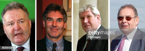 Jim Devine MP David Chaytor MP Elliot Morley MP and Conservative peer Lord Hanningfield who will appear in court today accused of theft by false...