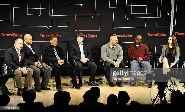 Jim Dwyer Kevin Richardson Korey Wise Ken Burns Raymond Santana Antron McCray and Sarah Burns attend the TimesTalks Presents 'Central Park 5' at...
