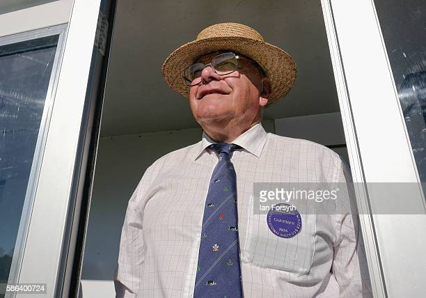 Jim Easton MBE, the Chairman of the International Sheep Dog Society, watches events at the British National Sheep Dog Trials on August 6, 2016 in...