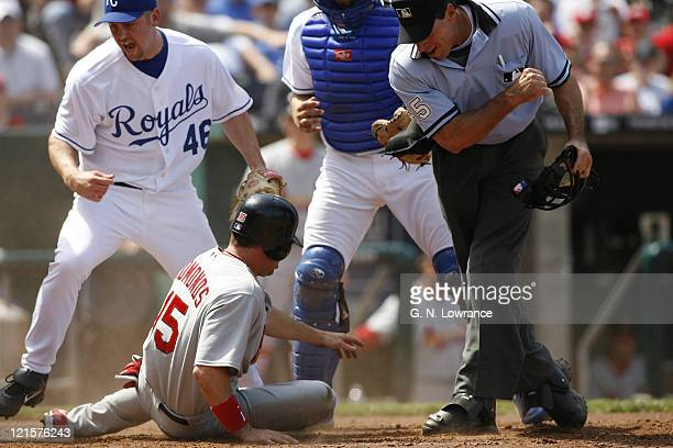 Jim Edmonds is called out at the plate during action between the St Louis Cardinals and Kansas City Royals at Kauffman Stadium in Kansas City...