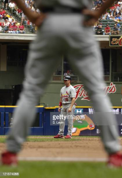 Jim Edmonds leads off of second base during the game between the St Louis Cardinals and the Milwaukee Brewers at Miller Park on Sunday June 11 2006...