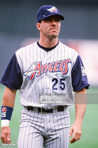 Jim Edmonds of the Anaheim Angels during the game against the Kansas City Royals on July 26 1998 at Kauffman Stadium in Kansas City Missouri