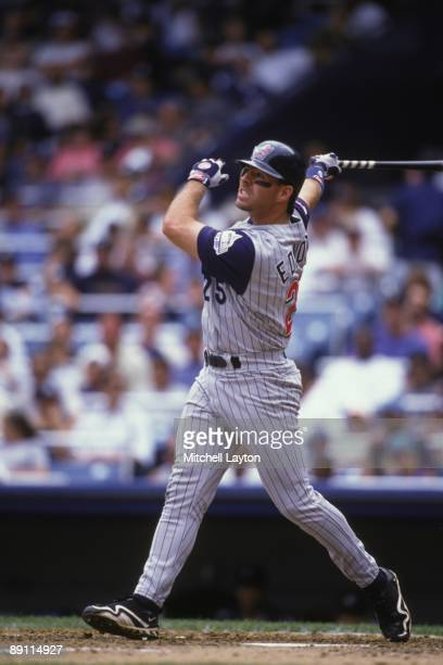 Jim Edmonds of the Anaheim Angels takes a swing during a baseball game against the New York Yankees on July 1 1997 at Yankee Stadium in New York New...