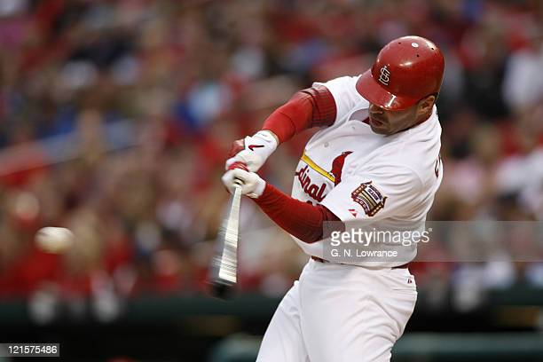 Jim Edmonds of the Cardinals takes a swing during action between the Arizona Diamondbacks and St Louis Cardinals at Busch Stadium in St Louis...