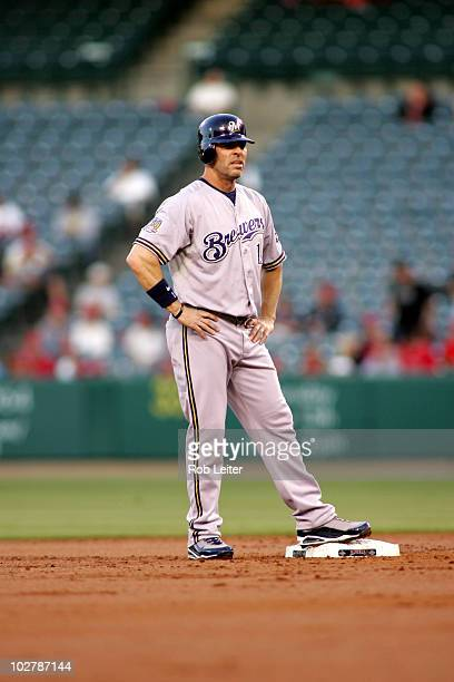 Jim Edmonds of the Milwaukee Brewers stands at second base during the game against the Los Angeles Angels of Anaheim at Angel Stadium on June 15 2010...