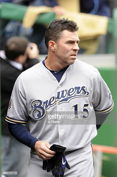 Jim Edmonds of the Milwaukee Brewers walks in the dugout before the game against the Washington Nationals April 18 2010 at Nationals Park in...