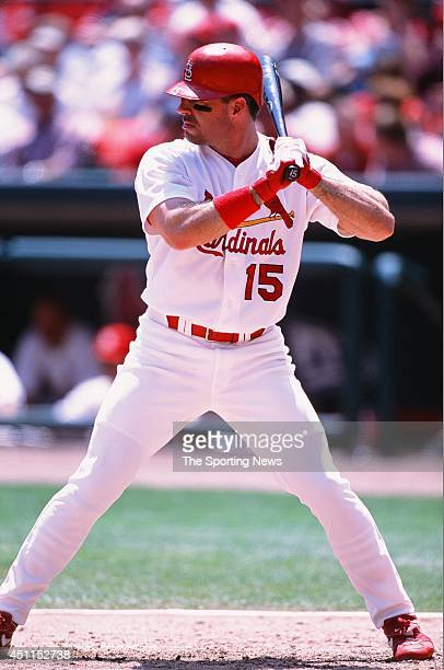 Jim Edmonds of the St Louis Cardinals bats against the Houston Astros at Busch Stadium on May 23 2002 in St Louis Missouri The Cardinals defeated the...