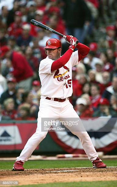 Jim Edmonds of the St Louis Cardinals bats against the Houston Astros in game six of National League Championship Series during the 2004 Major League...