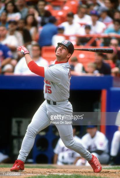 Jim Edmonds of the St Louis Cardinals bats against the New York Mets during an Major League Baseball game circa 2000 at Shea Stadium in the Queens...