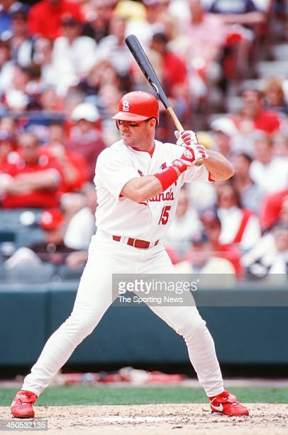 Jim Edmonds of the St Louis Cardinals during the game against the Chicago Cubs at Busch Stadium on April 6 2000 in St Louis Missouri
